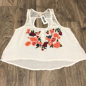 White and floral embroidered PacSun top